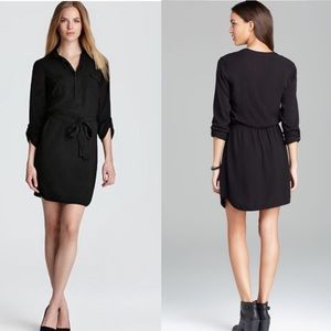 Splendid Black Tie Waist Shirt Dress